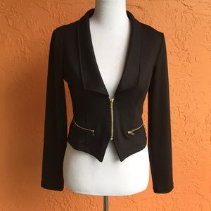 NEW crop fitted blazer black with gold zippers